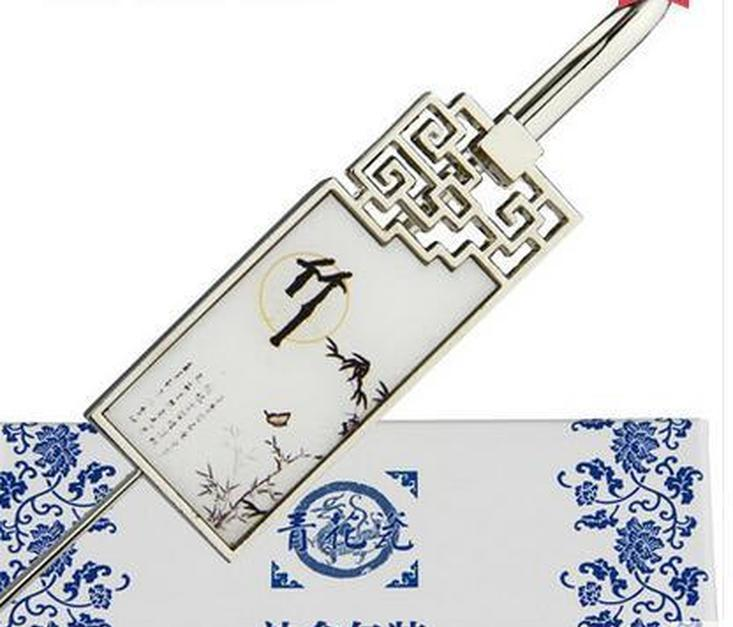 blue and white porcelain bookmark, chinese wind metal, classical creative bookmark, gift teacher, classmate gift lettering custo