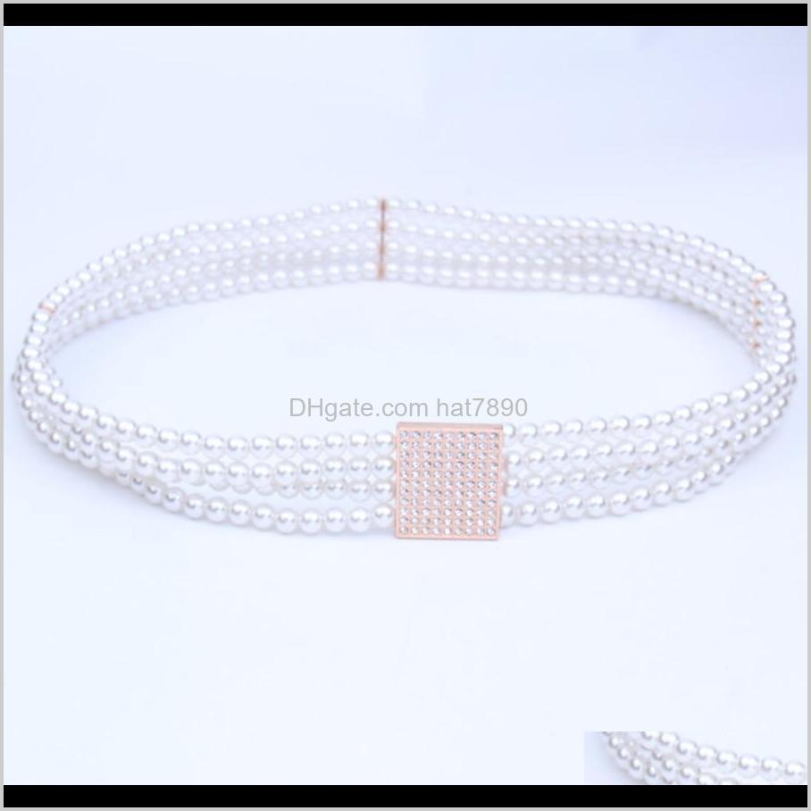 Belt Elastic New Pearl Women`s Diamond Decorative Thin Waist Chain I6vt