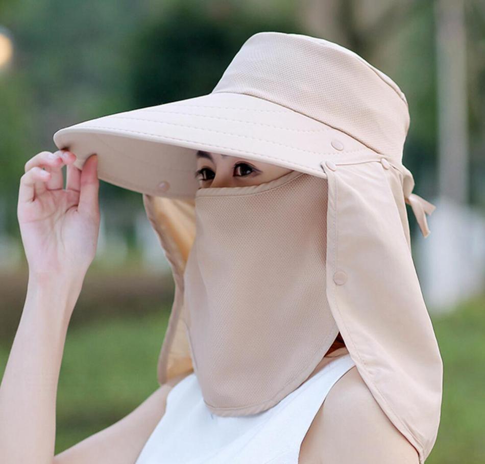 women mask wide brim hat 5 colors full mask summer uv protection face neck flap cap outdoor solid bucket hat ljjo7648
