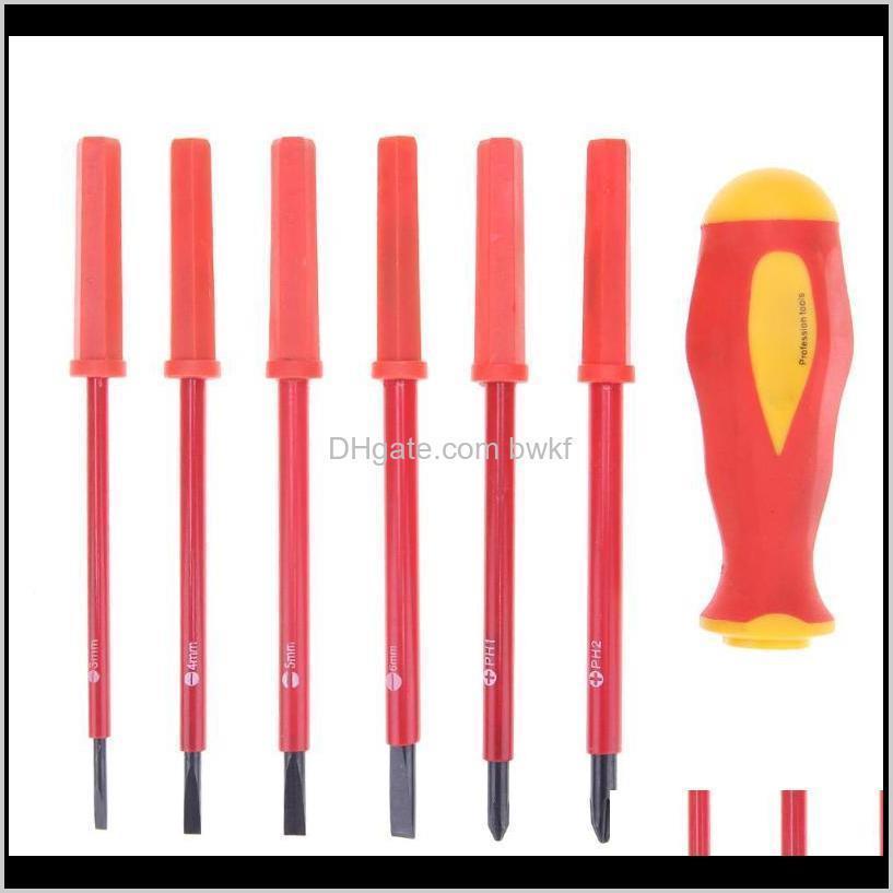7pcs multifunction screwdriver bit set ph1 ph2 cross slotted insulated screw driver repair tool hand tool kit