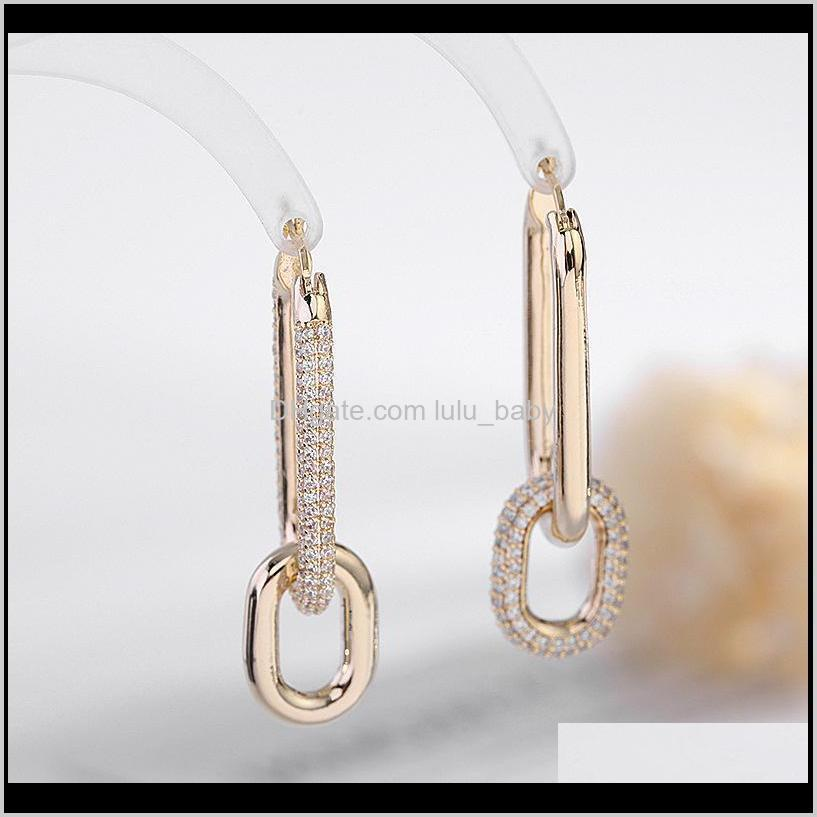 fashion new ins luxury designer diamond zirconia copper chain geometric clip on earrings for woman girls gifts s925 silver post
