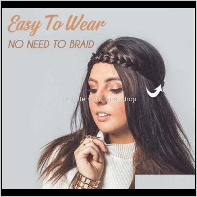 3.5 cm wide synthetic wig twist elastic hair band braid bohemian braid headband for women fd