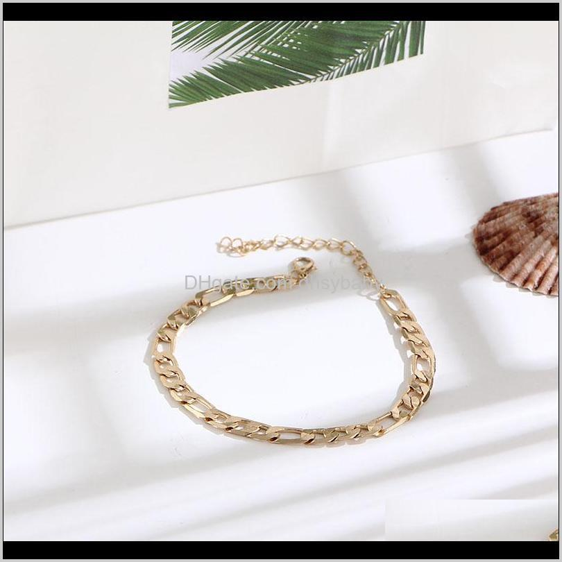 color figaro snake link chain anklet for women men ankle bracelet fashion beach accessories foot jewelry ps1211