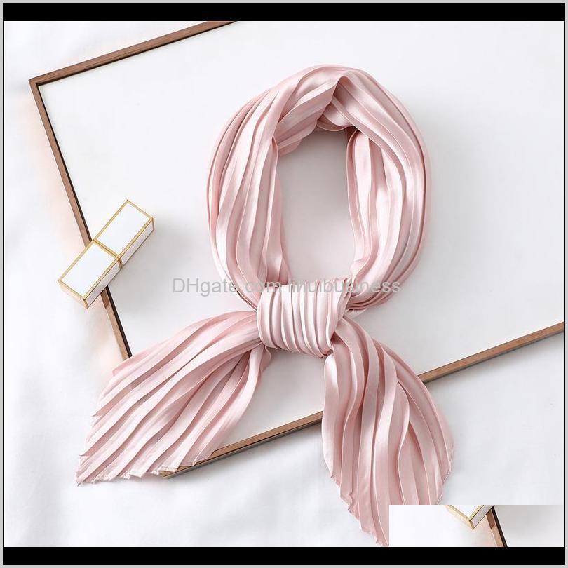fashion women silk pleated scarf luxury solid neck scarfs foulard femme crinkle hair band scarves girl neckerchief 2021 new