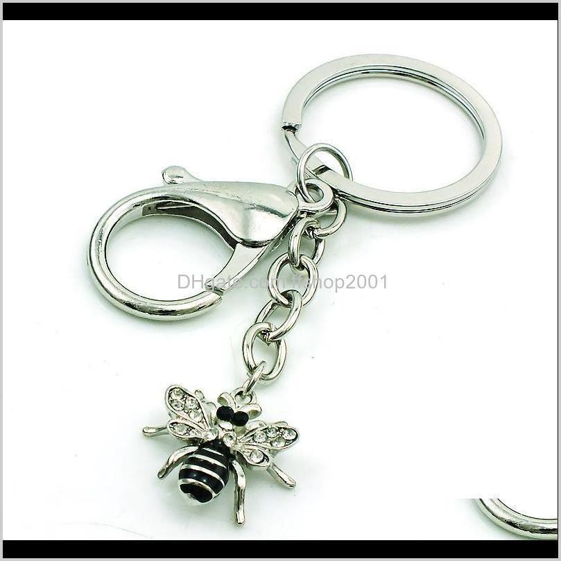 jinglang fashion bee charms dangle black enamel rhinestone animals pendants diy charms for jewelry making accessories