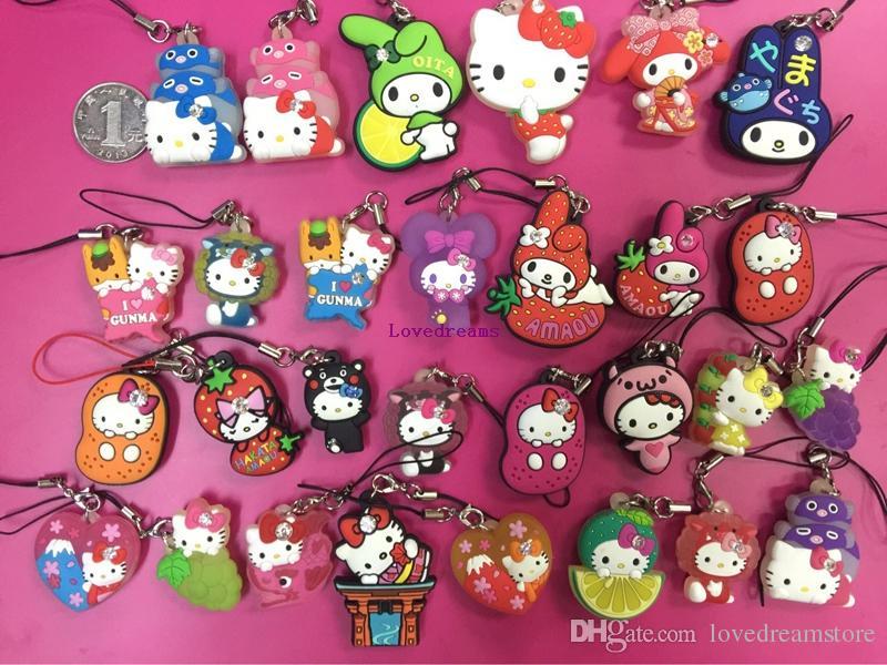 Cartoon Anime Hello Kitty pvc figure random mix Phone Straps/keychain pendant toys
