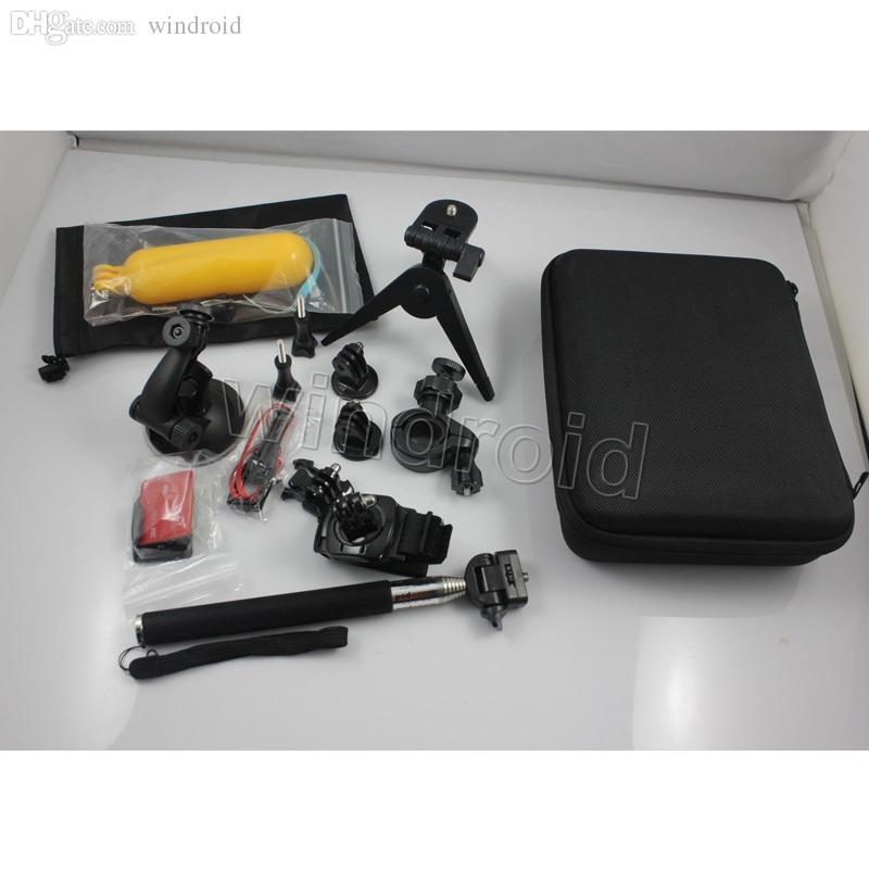 13 in 1 GoPro Zubehör-Set Go Pro Remote-Handgelenksschlaufe 13-in-1 Travel Kit Zubehör + Stoßfester Tragekoffer Sportkamera Hero 4 3+ 3 2