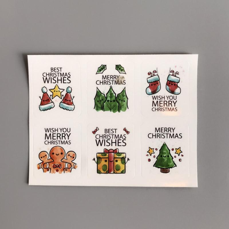 3x3.5cm1.4x1.2inchmerry christmas stickers gift label paper sticker baking package sticker gift sealing labels customize