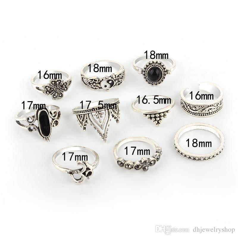 Старинные FashionSet 10 шт. бохо йога Yinyang палец кулака кольцо группа Midi кольца укладка кольцо