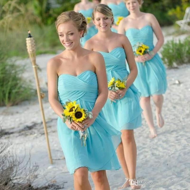 Cheap Short Bridesmaids Dresses Blue A Line Sweetheart Chiffon Knee ...