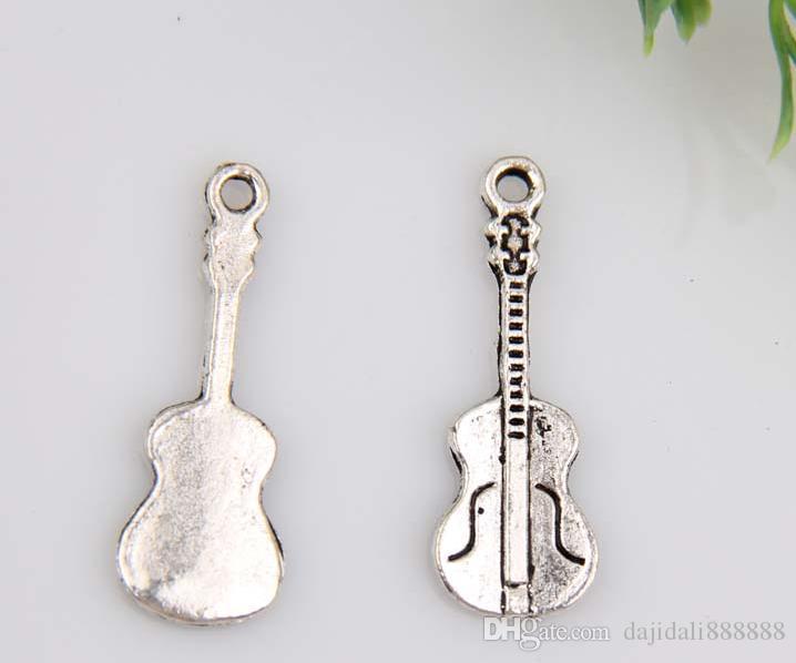 Caliente ! 150 unids Antiqued aleación de plata de la guitarra del encanto de la joyería DIY 27 x 10 mm 380