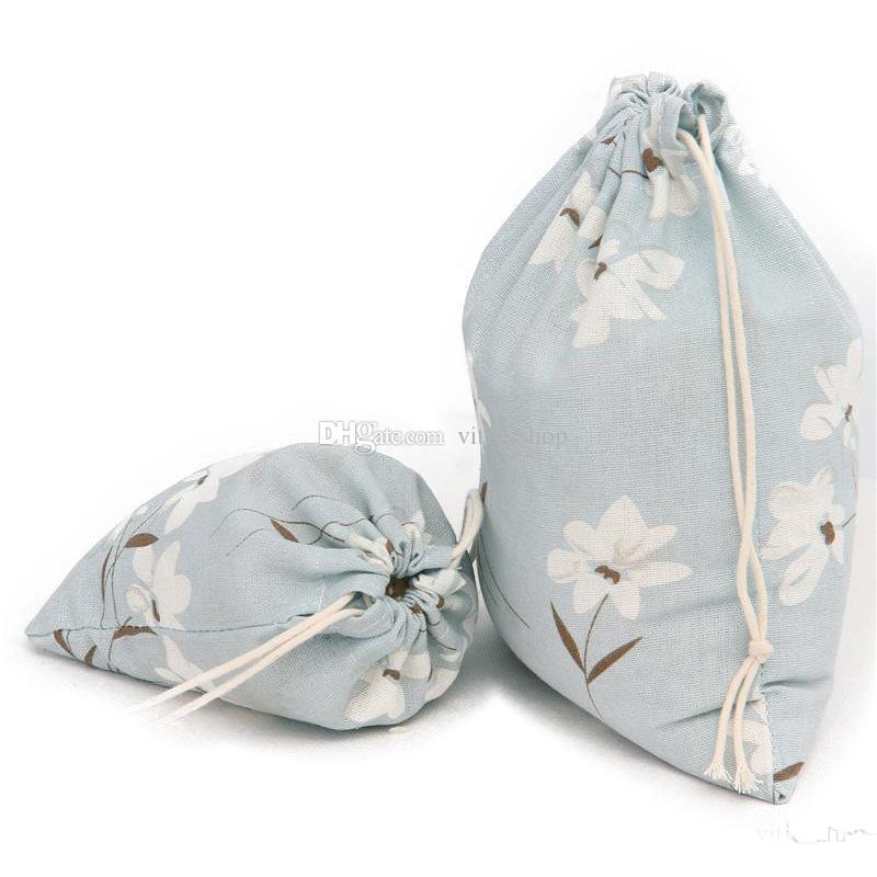 Drawsting Storage Bag Flower Print Bag Room Organizer Packing Bags