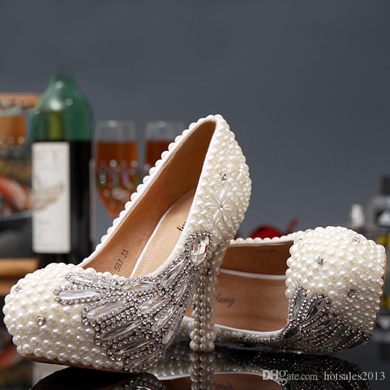 Великолепный полный жемчуг из бисера на высоком каблуке невесты свадебные туфли кристалл алмаз леди обувь для свадьбы бал бал выпускное мероприятие