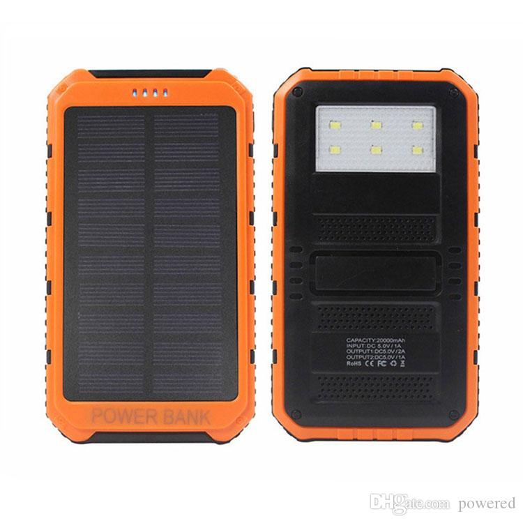Hot 20000mAh 2 USB Port Solar Power Bank Charger External Backup Battery With Retail Box For iPhone iPad Samsung Mobile Phone