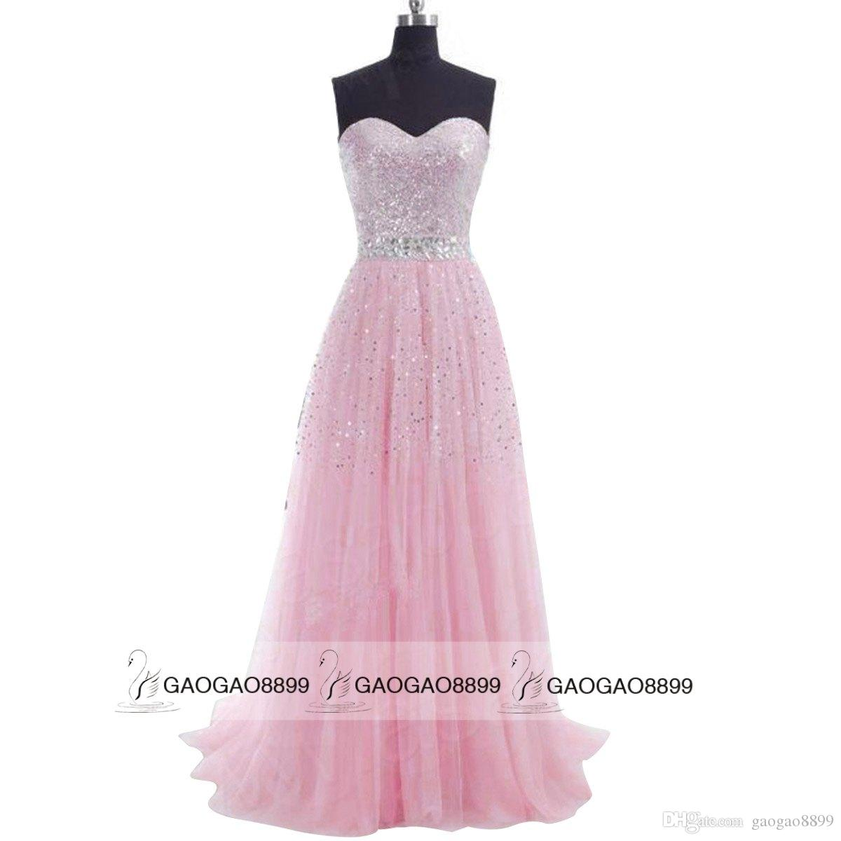 Sweetheart Sequins Tulle Evening Prom Dresses Long Champagne Mint Pink Blue Grey Lilac Beads Bridesmaid Party Gowns 2019 In Stock Cheap
