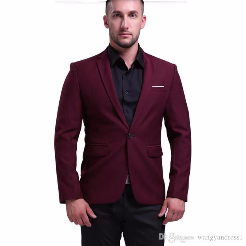 Vente chaude conception Custom Made Beau Costumes De Mariage Bordeaux Smokings Costumes Formels Business Wears Groomsman costumes Veste + Pantalon