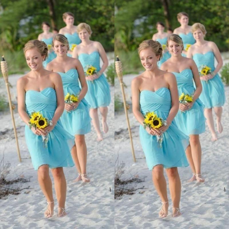 2015 Aqua Green Short Bridesmaid Dresses Sleeveless Sweetheart ...