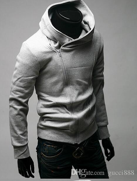 2015 HOT Brand New zíper Diagonal Hoodies dos homens Moletons Casaco Jaqueta Tamanho M, L, XL, XXL, XXXL