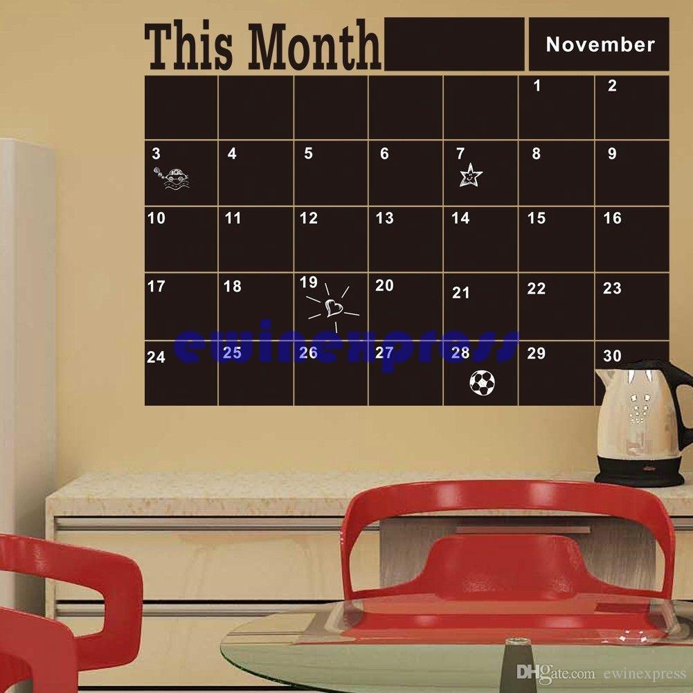 خطة شهر أسود التقويم الطباشير مجلس السبورة ملصقات الحائط صائق ديكور المنزل للإزالة الفينيل جدار الجداريات الشارات ملصقات خلفية