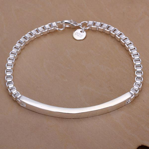 الساخنة أفضل هدية سوار الفضة 925 مربع بطاقة المتوسطة - رجال DFMCH079، العلامة التجارية الجديدة أزياء 925 الفضة الاسترليني سلسلة مطلي صلة أساور
