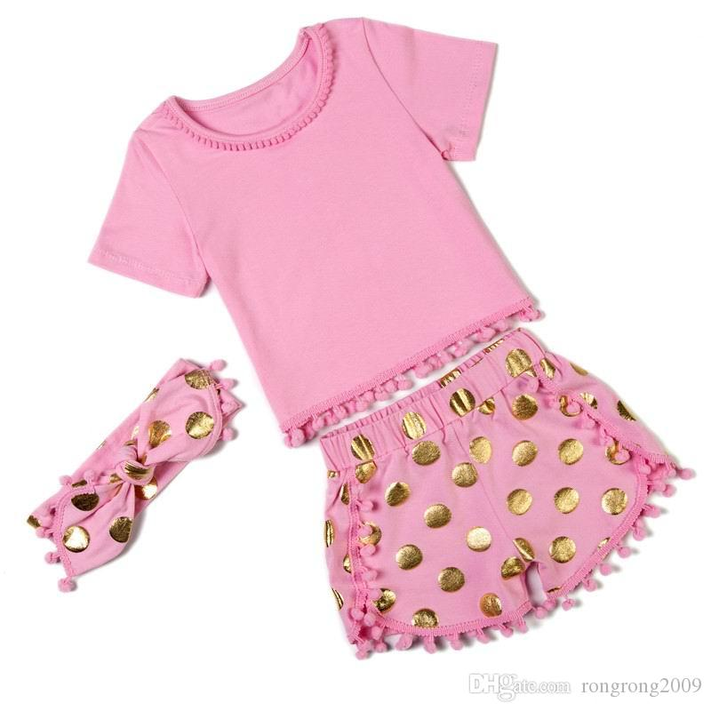 Retail 2016 New Girl Sets Short Sleeve T-shirts+Polka Dot Shorts+Headbands 3 Piece Fashion Sets Children Clothing 0-5T 9274