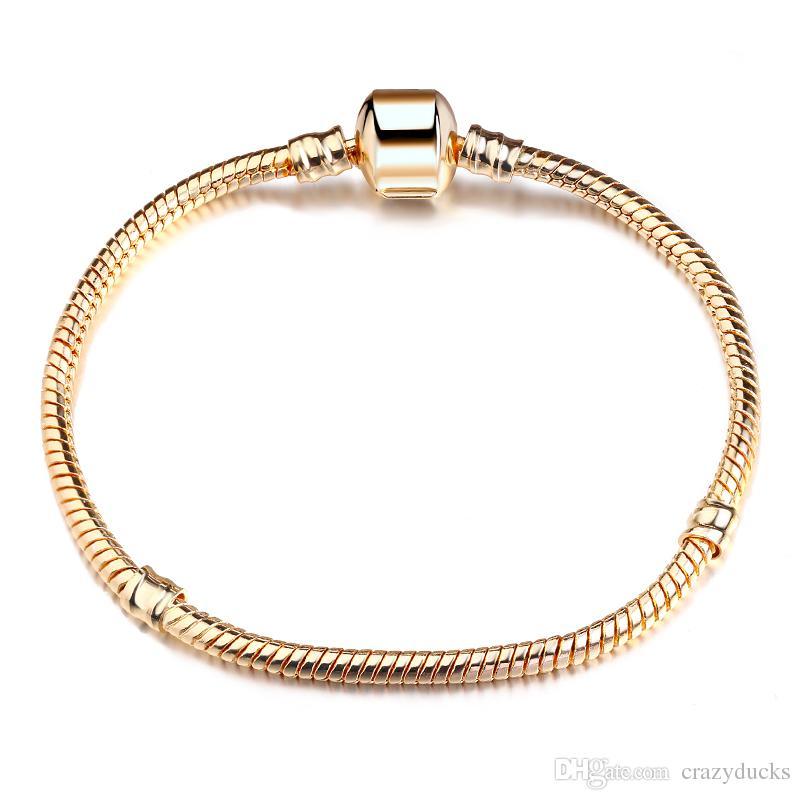 Neue Heiße Verkauft 8 Stil 925 Silber LIEBE Schlangenkette Armband Armreif 17 CM-21 CM Pulseras Hummer für Perlen