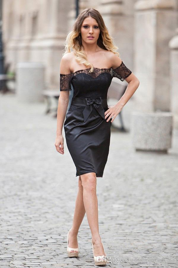 Longueur Au Genou Gaine Petites Robes De Cocktail Noires Avec Dentelle Arc Hors De L'epaule Zipper Dos Robes De Bal Courtes