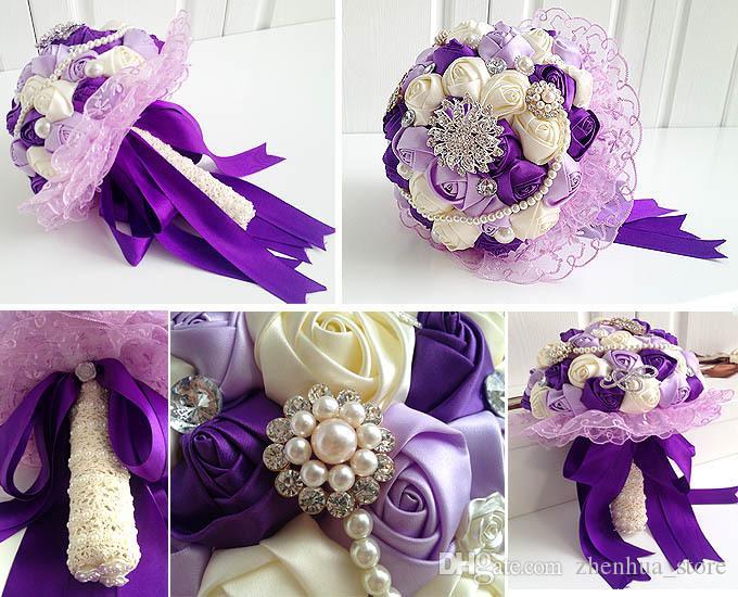 Hot 2015 Bukiet ślubny Fioletowy Rose Kwiaty z koronki dekoracji mieszane z perłami i diamentowym jedwabnym kryształem 30 * 29 bukiet ślubny