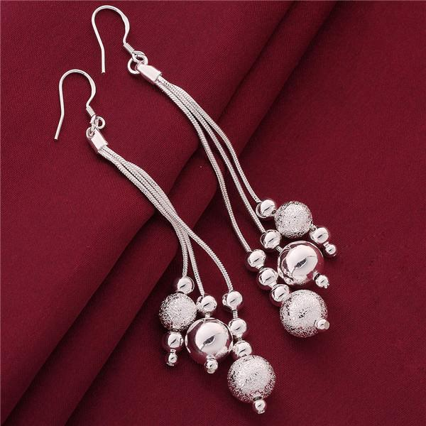 Brand new sterling silver plated Three lines more beads earrings DFMSE006,women's 925 silver Dangle Chandelier earrings a