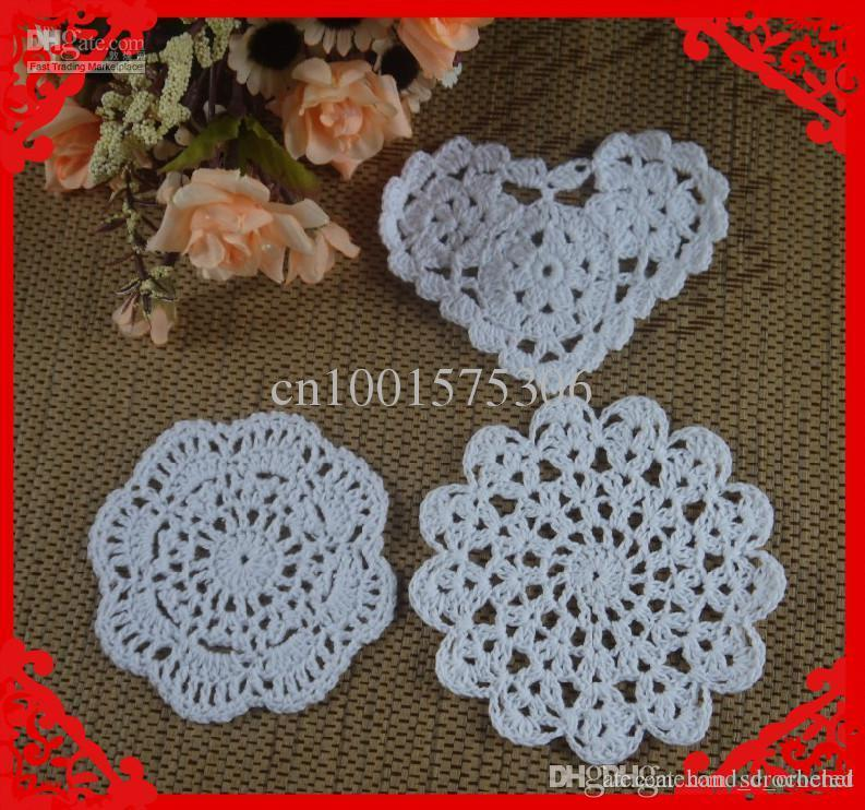 Online Cheap Wholesale Heart Shaped Round Crochet Pattern Doily Hand