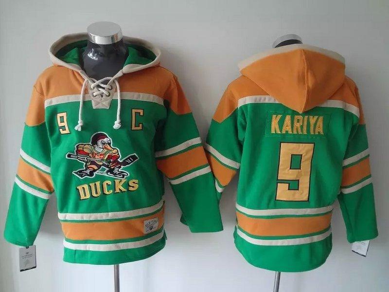 Men's Mighty Ducks Of Anaheim #9 Paul Kariya Old Time Hockey Green Hoodie