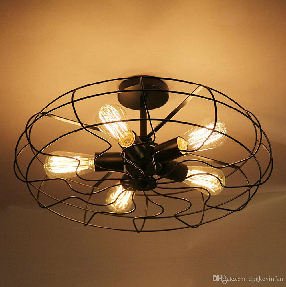 creative lighting design. Loft Vintage Creative Lighting Lamps American Country Style Minimalist Industrial Fan Chandelier Personality Iron Ceiling Light Coloured Glass Pendant Design