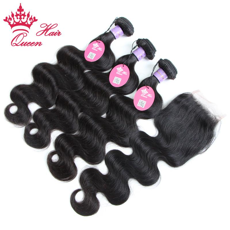 Queen Hair Products Hohe Qualität 4 teile / los Natürliche Farbe # 1B Körperwelle Malaysische Jungfrau Haarwebart, 3 stücke Haar Bündel + 1 stück Spitze Verschluss