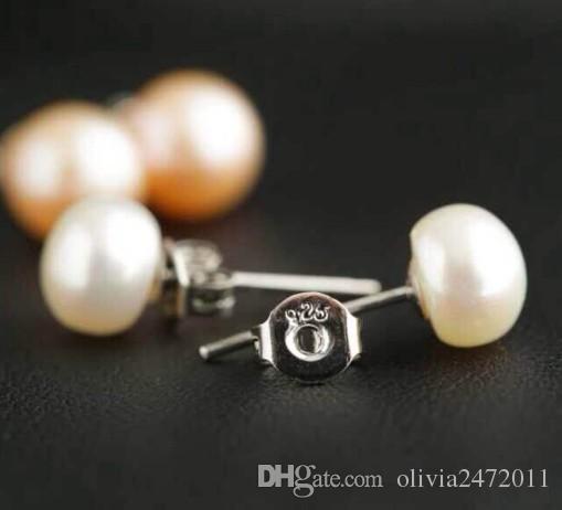 천연 담수 진주 귀걸이 925 스털링 실버 스터드 귀걸이 6mm 진주 jewellry 여성을위한 웨딩 쥬얼리 선물 MS