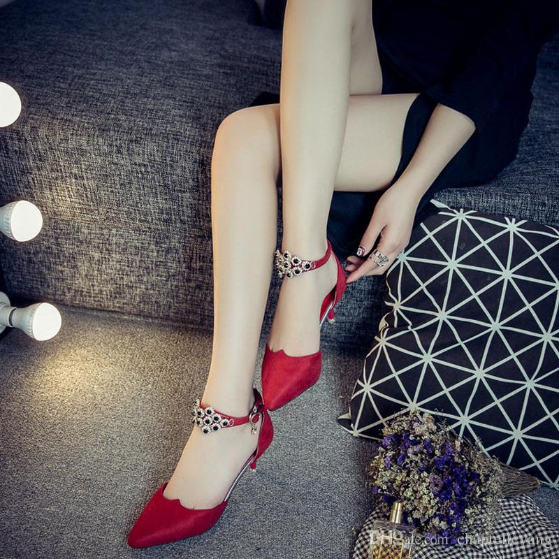 Grey Black Red Wedding Shoes 2018 New Arrival Bridal Sandals Shoes Pointed  Suede Leather Luxury Women Shoes With Heeled Zapatos De Mujer Low Heel  Wedding ... 1bc8a4d539cf