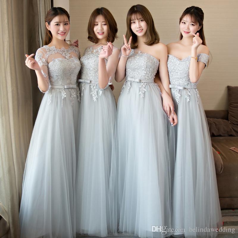 Elegant Silver Gray Junior Bridesmaid Dresses Lace Appliqued Wedding
