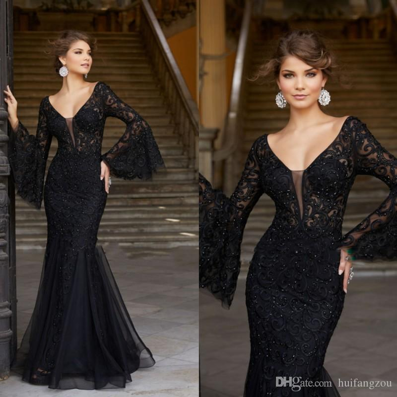 Black Sexy Mermaid Prom Dresses V Neck Shiny Beads Applique Evening Gowns  Long Sleeve Formal Dresses Designer Prom Dress Designer Prom Dresses Uk  From . 8ce777288efe