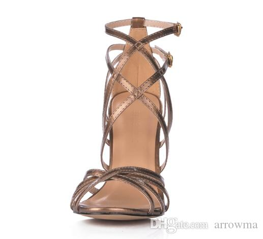 2016 Buckle Strap Wedding Shoes For Bridal Criss Cross Trapless HIgh Thin Heels Plus Size Bridal Accessories New Arrive Fashion Sandals