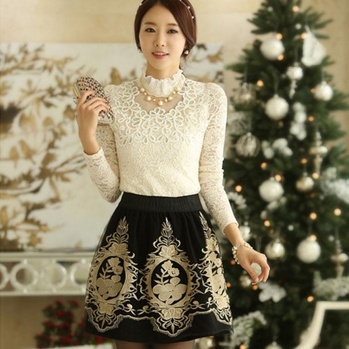 2015 Fashion New Flower Floral Print Dress Korean Style Women Organza Mesh Dress Glitter