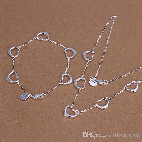 عالية الجودة 925 الفضة الاسترليني خمسة قطعة الحب مجوهرات مجموعة DFMSS186 العلامة التجارية الجديدة المصنع مباشرة 925 الفضة قلادة سوار