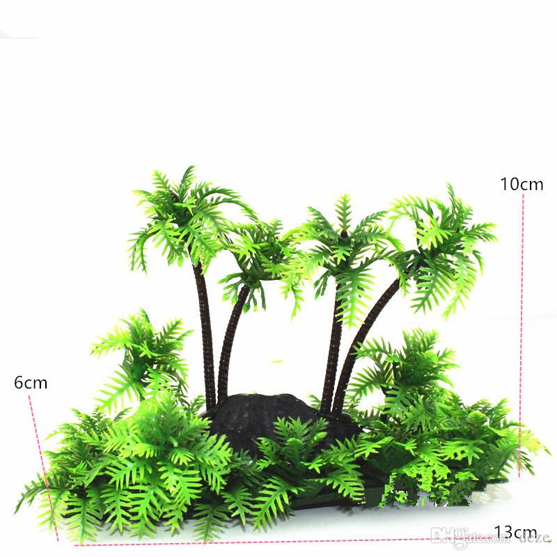1 Pz Verde Acquario Pianta Artificiale Palme di Cocco Canna da pesca PLASTIC PLANTS Ornament Fish Tank Landscape Decoration Decor