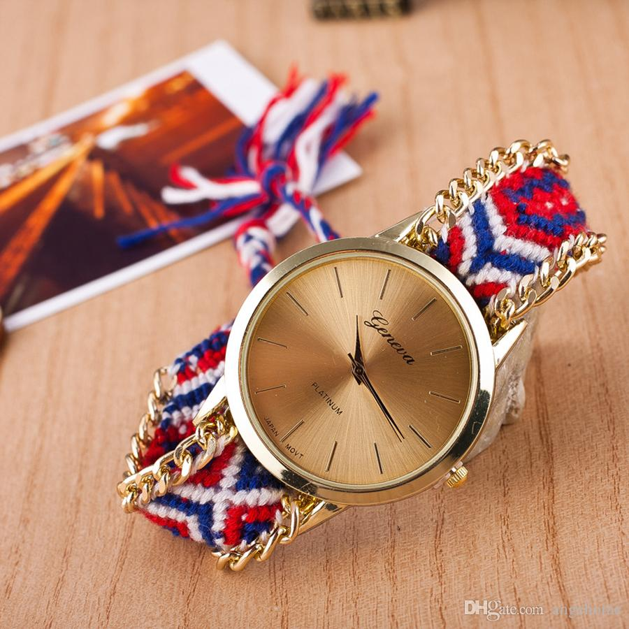 Handmade Braided Friendship Bracelet Watch Geneva Hand-Woven Watch Ladies Women Weave Dress New Fashion Quarzt Watch