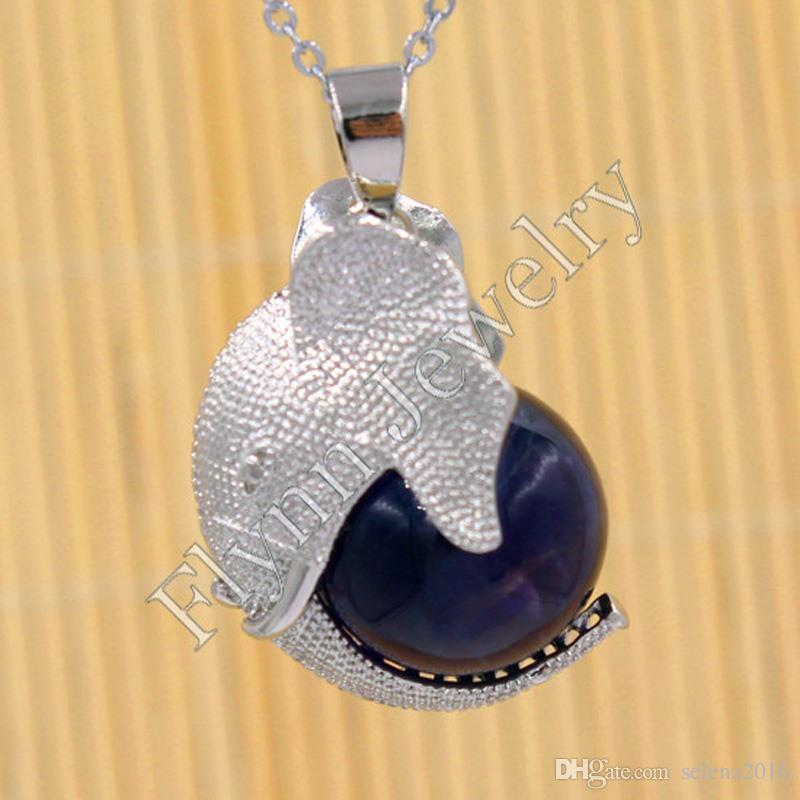 2016 Amethyst Various Natural Stone Ball Bead Silver Plated Mascot Elephant Reiki Pendulum Pendant Charms Amulet Fashion Jewelry 20X Mix