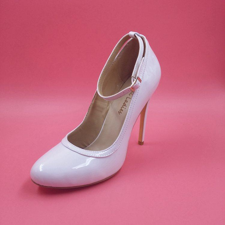 Bridal Shoes Alternative: Real Image White Wedding Bridal Shoes Heels Buckle Strap
