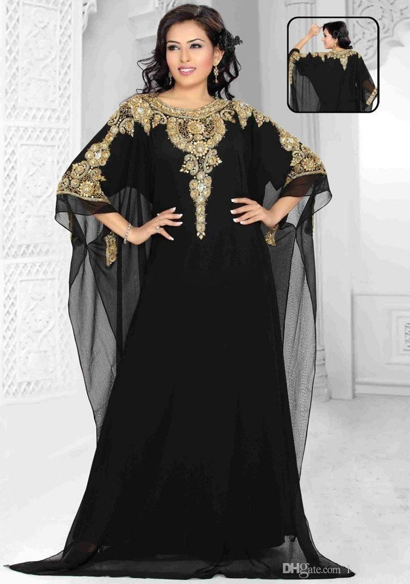 2019 New Long Arabic Crystal Beaded Islamic Clothing for Women Abaya in Dubai Kaftan Muslim Jewel Neck Evening Dresses Party Prom Gowns 314