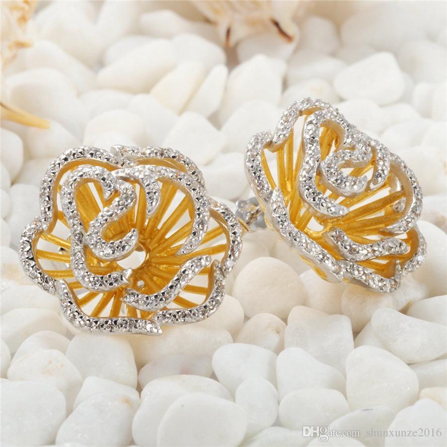 Förderung Edle Großzügige Bestseller S-3793 Brandneue Weiße Zirkonia Shinning Rose vergoldet 925 Sterling Silber Mode Ohrringe