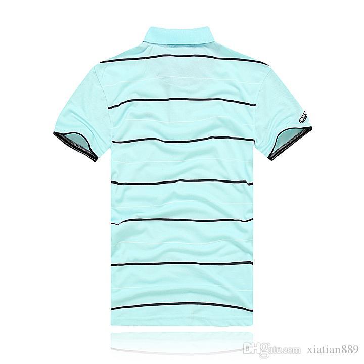 NEUE Mode stickerei kragen polos streifen Männer T-shirtsmale Kurzarm Tops Baumwolle polo Jungen sport