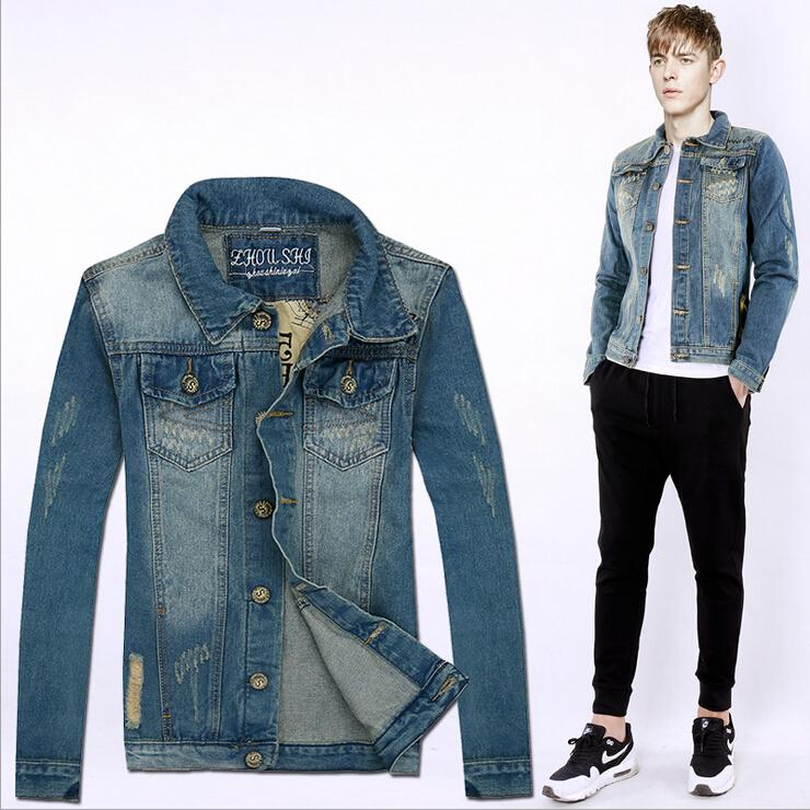 2016 Spring/Autumn New Men\u0027S Jeans Jacket Coats Korean Slim Print Hole Men  Washed Denim Jacket Long Sleeve Patchwork Jeans Jackets For Mens Cheap  Jackets