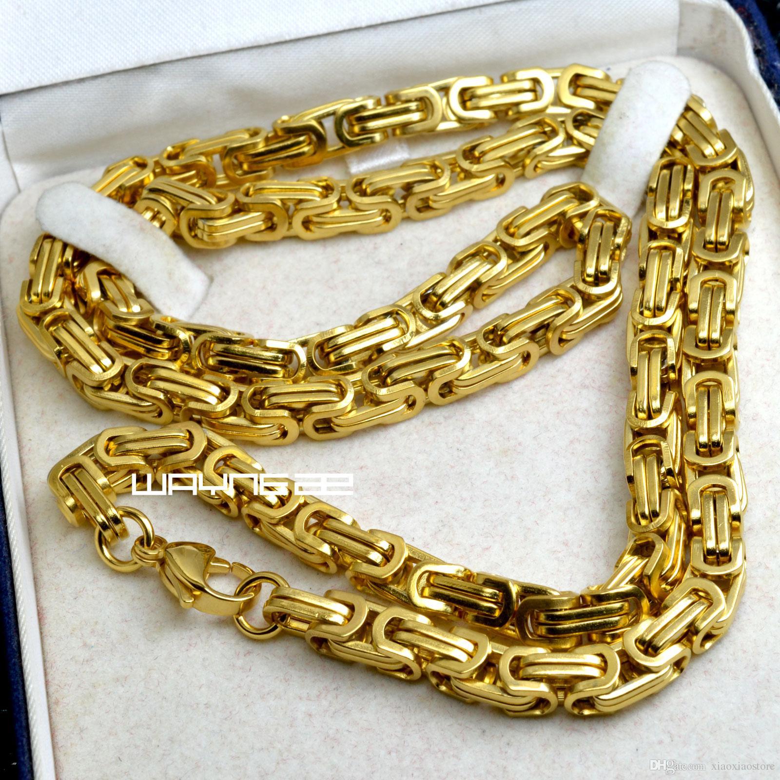n311-Heavy Gold tone 60cm,70cm Length Men Women Solid link Necklace Chain 6MM W