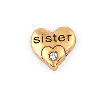 20 Unids / lote Color Oro Carta de la Hermana de Cristal DIY Corazón Locket Encantos Flotantes Apto Para Locket Magnético viviente de Cristal